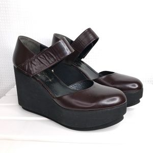 Robert Clergerie Chicago Wedges Brown Platform 8